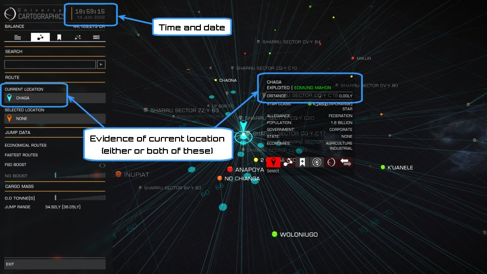Galaxy map screen showing time and date, plus current location equals X and/or system X is distance zero light years
